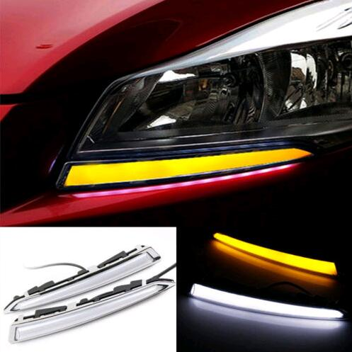 Turn Signal Light and dimming style Relay Car LED DRL Daytime running light with fog lamp hole for FORD Kuga Escape 2013 -2016 sunkia 2pcs set led drl daytime running light fog driving light guide light style for ford kuga escape free shipping