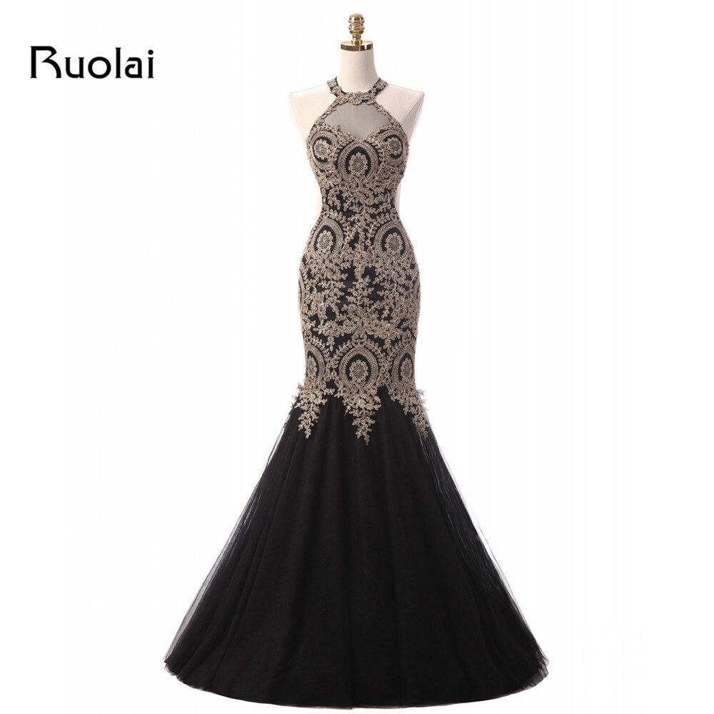 Image réelle charmante or Appliques robe de soirée noire licou Tulle sirène robes de bal robe de soirée robe de soirée de mariage robe ED18