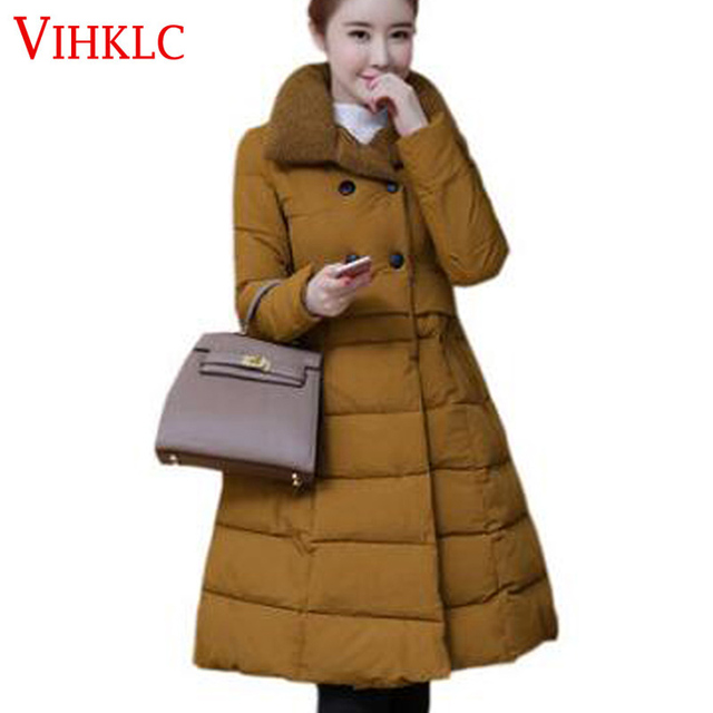 3f3939a0f3b 2017 Europe America Fashion A-line Style Winter Coat Women Slim Parka Lady  Thick Warm Winter Jacket Women Outwear Female H562