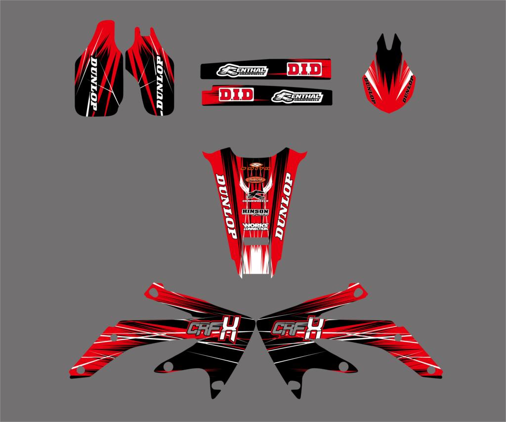 New Style Red TEAM GRAPHICS & BACKGROUNDS DECAL STICKER Kit For Honda CRF450X 4 STROKES 2005 2017 2018 CRF 450X 450 X-in Decals & Stickers from Automobiles & Motorcycles    2