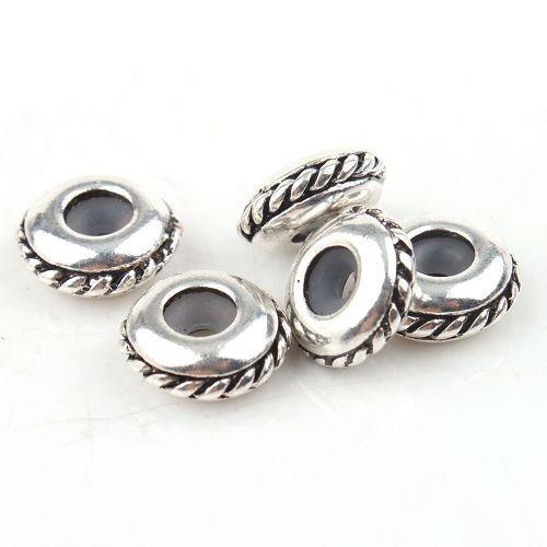40pcs Ancient Sliver Bulk Shiny Stopper Rubber Beads Fit Charms Bracelet 13mm Re788