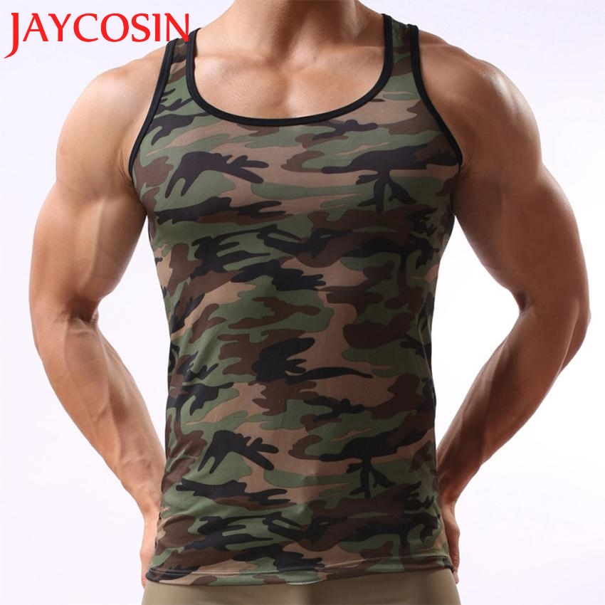 2a5ef9aaaf5dc 2017 New Fashion Soft Military Sleeveless Men s Breathable Black Camouflage  Vest Sportswear Tank Top Wonderful Drop