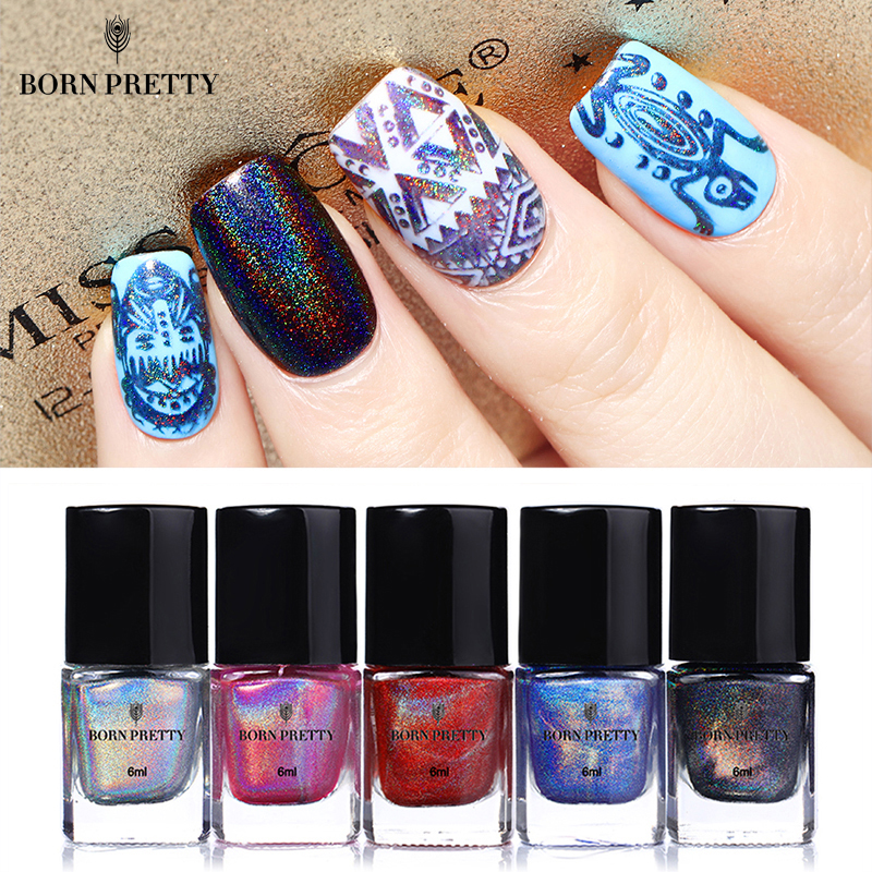 BORN PRETTY Holographic Nail Stamping Polish 6ml Colorful Holo Glitter Printing Varnish Lacquer for Nail Art Stamping Plate