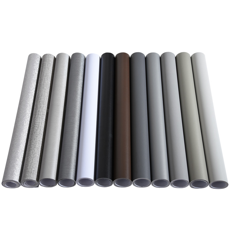 Solid Color Gray Wallpaper Self-adhesive Simple Warm Dormitory Student Bedroom Decoration Girl Wardrobe Desk Waterproof Sticker