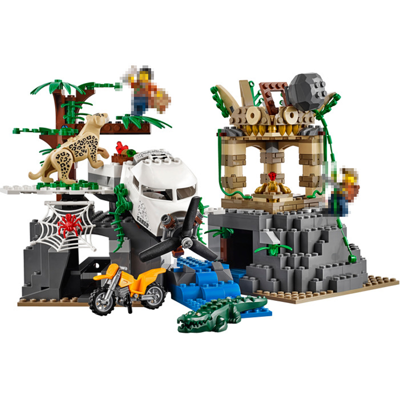 Lepin 02061 870pcs City New Series Exploration of Jungle Building Blocks Bricks Educational Model DIY toys for children 60161 in stock lepin 02012 774pcs city series deepwater exploration vessel children educational building blocks bricks toys model gift