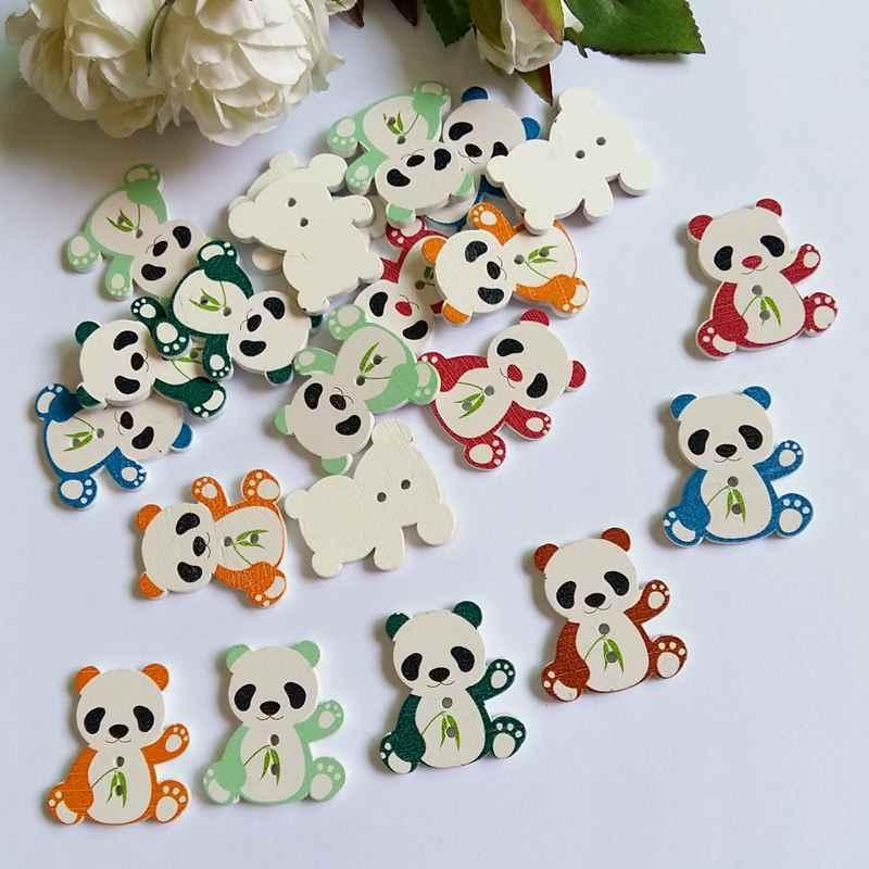 20/50 adet 2 Delik Ahşap Düğmeler Karışık Hayvanlar panda Şekilli Karalama Defteri Düğmeler Zanaat Dikiş Aksesuarları 28 * 26 mm