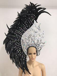 Image 1 - Латинские танцы Самба аксессуары, модный изящный головной убор с перьями, нежные аксессуары для танцев, одежда для самбы