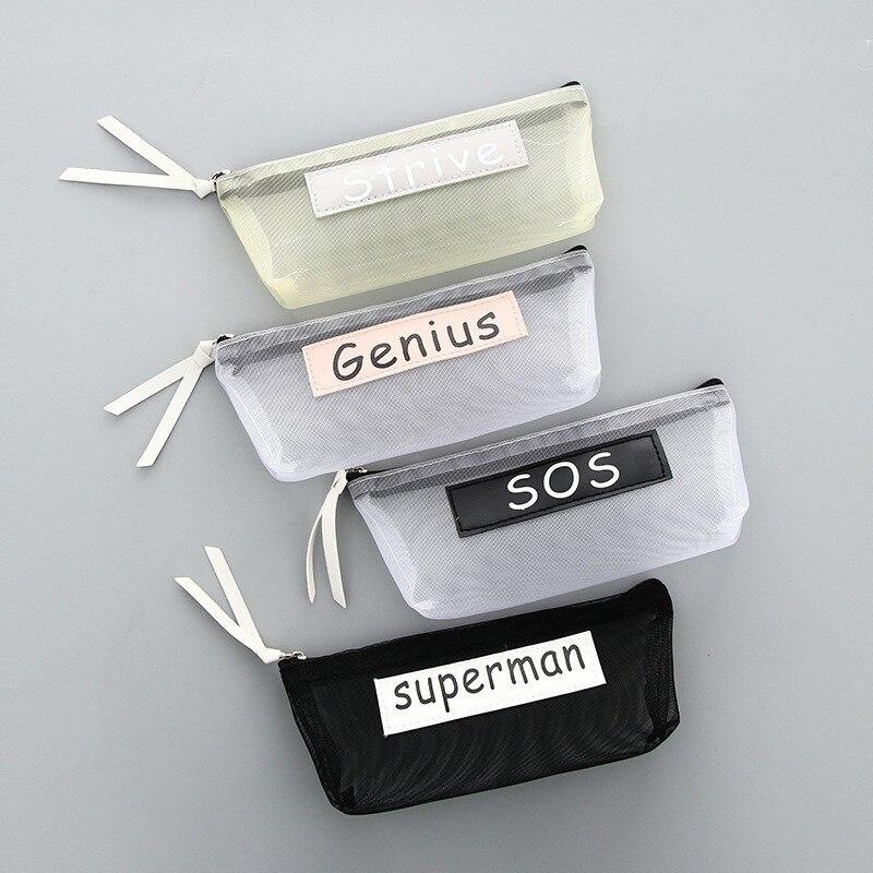 New Simple Transparent Mesh Pencil Case Office Student Pencil Cases Nylon Kalem Kutusu Pen Box Astuccio Scuola School Supplies