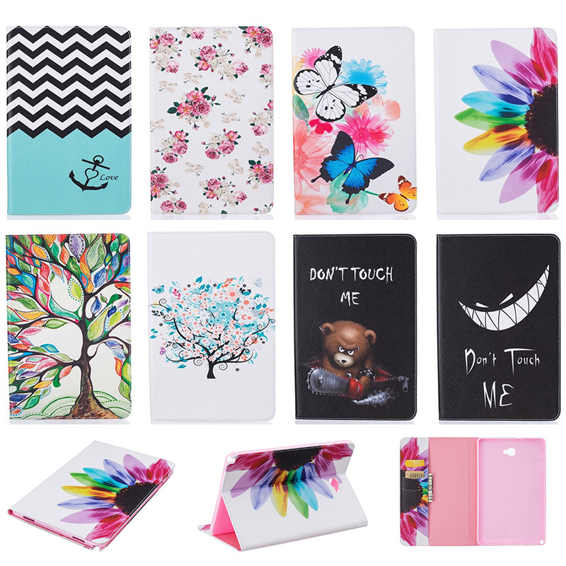 Fashion Pattern Wallet Flip PU Leather For Samsung GALAXY Tab A 10.1 P580 P585 SM-P580 SM-P585 Case Tablet Back Cover Funda