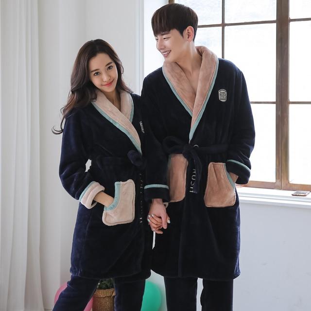 2016 new fashion coral velvet couple robe water mink velvet warm couple shirt gown