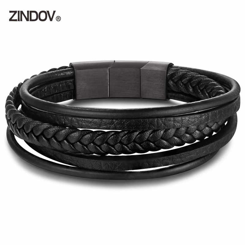 ZINDOV Hot Mens Bracelet Adjustable Stainless Steel Clasp Black Braided Leather Men Jewelry Multilayer PU Real Leather Bracelet