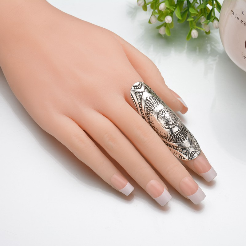 MissCyCy Vintage New Unique Punk Rings Ethic Antique Silver Carved Long Joint Totem Armor Rings Gypsy Boho Jewelry