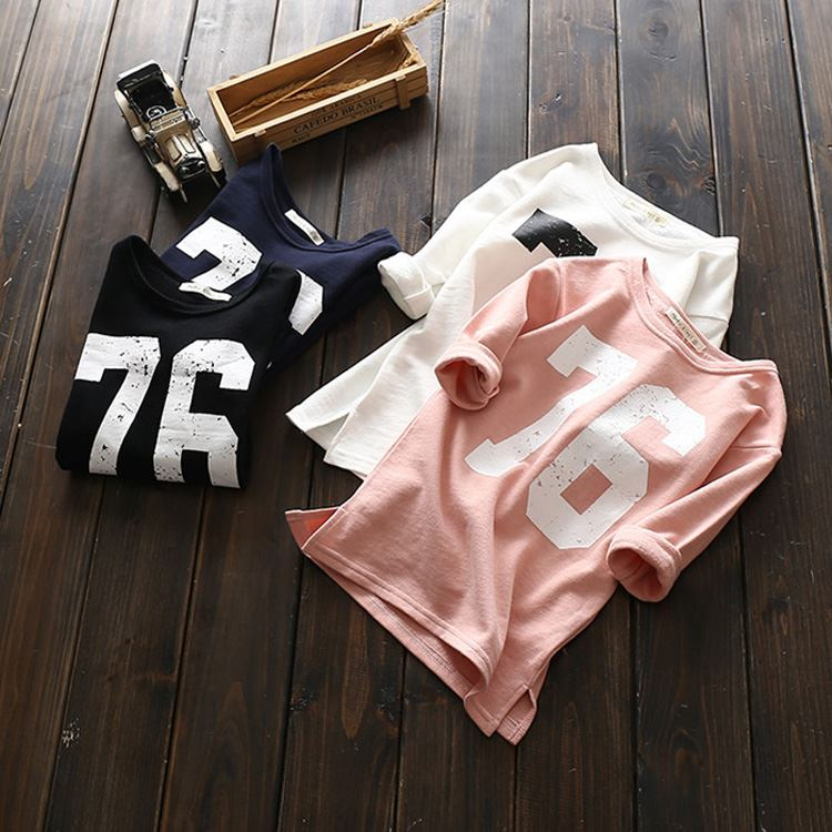 2018 Fashion T-shirt Unisex Kids Long T shirts Number Design Girls New Spring Long Sleeve Tshirt for Girl Cotton Clothes