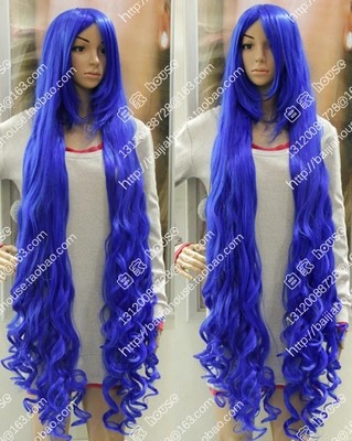 Free Shipping Deep blue color 60 inches 1.5 meters Big wave curly hair wig  cocktail party masquerade party bar anime and manga 6f10ded4e