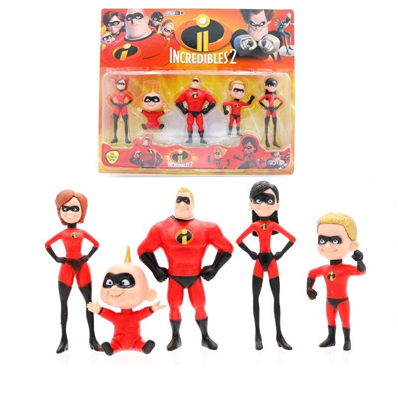 The Incredibles 2 Action Figure PVC Model Set 5pcs Kids Toys 6-15cm Family Pack