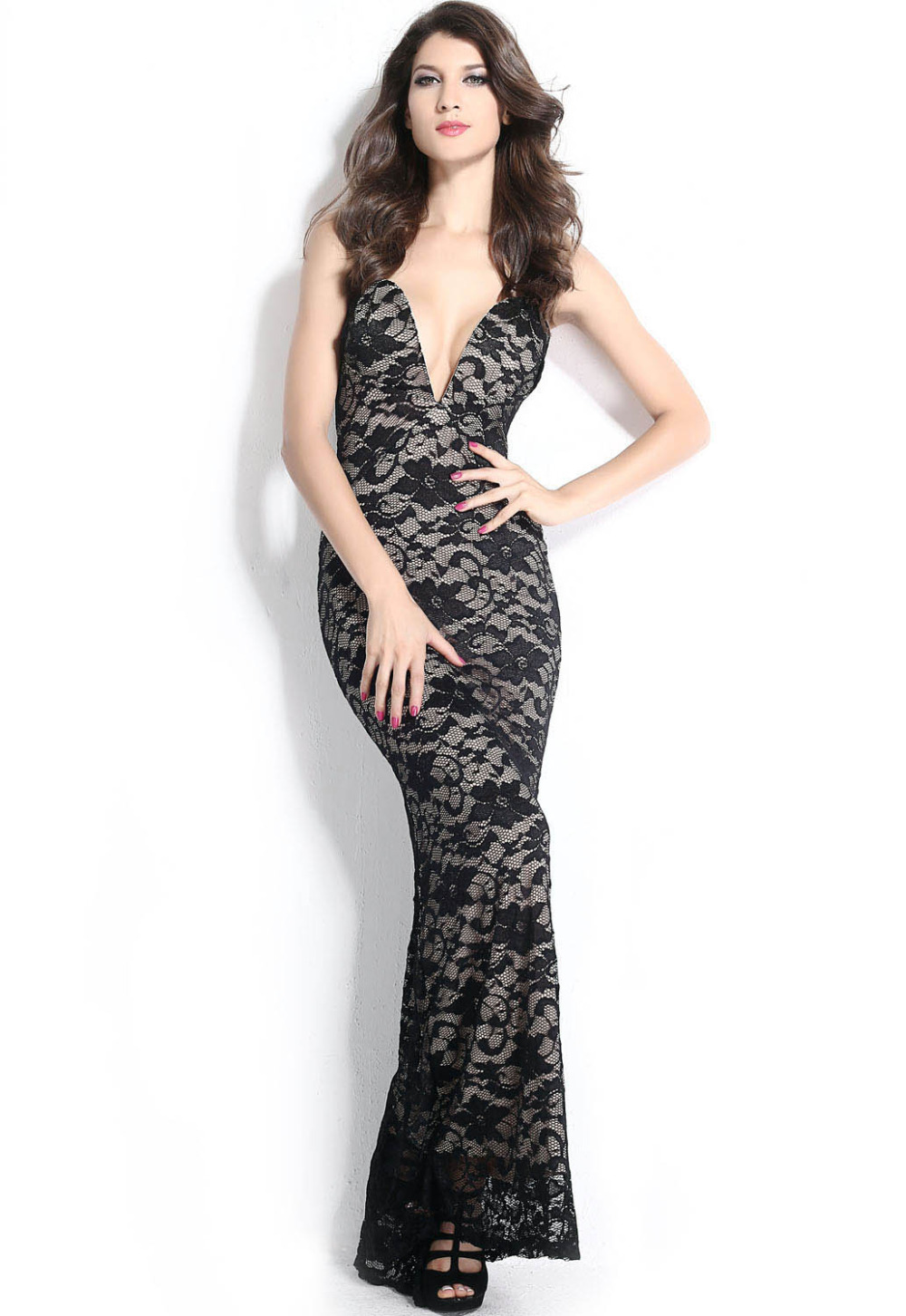 Woman Sexy Night Clubwear Cocktail Formal dress floor-length sheath <font><b>Black</b></font> <font><b>Lace</b></font> <font><b>Nude</b></font> <font><b>Illusion</b></font> <font><b>Plunging</b></font> <font><b>V</b></font> <font><b>Neck</b></font> Strapless Gown 6328
