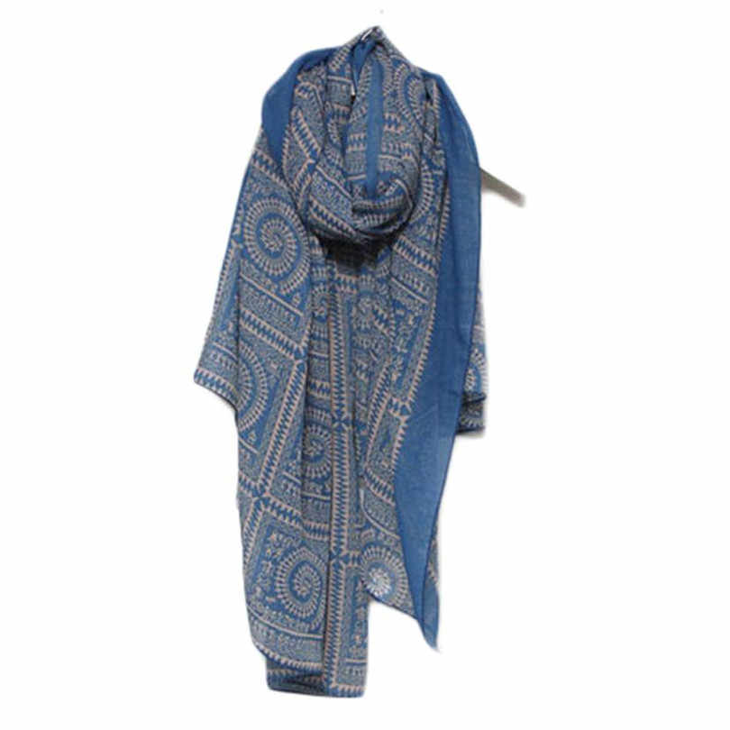 2019 # Durevole sciarpa di Modo di Alta qualità Blu e Bianco Porcellana Stile Sezione Sottile della Seta Fili e cotoni per ricamo Delle Donne Dello Scialle Della Sciarpa