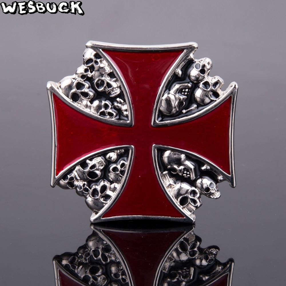 5 piezas MOQ fresco cráneo hebillas WesBuck marca cruzando hebillas de cinturón de Metal para hombre mujer, hebillas de Metal vaquero de plata chapado en