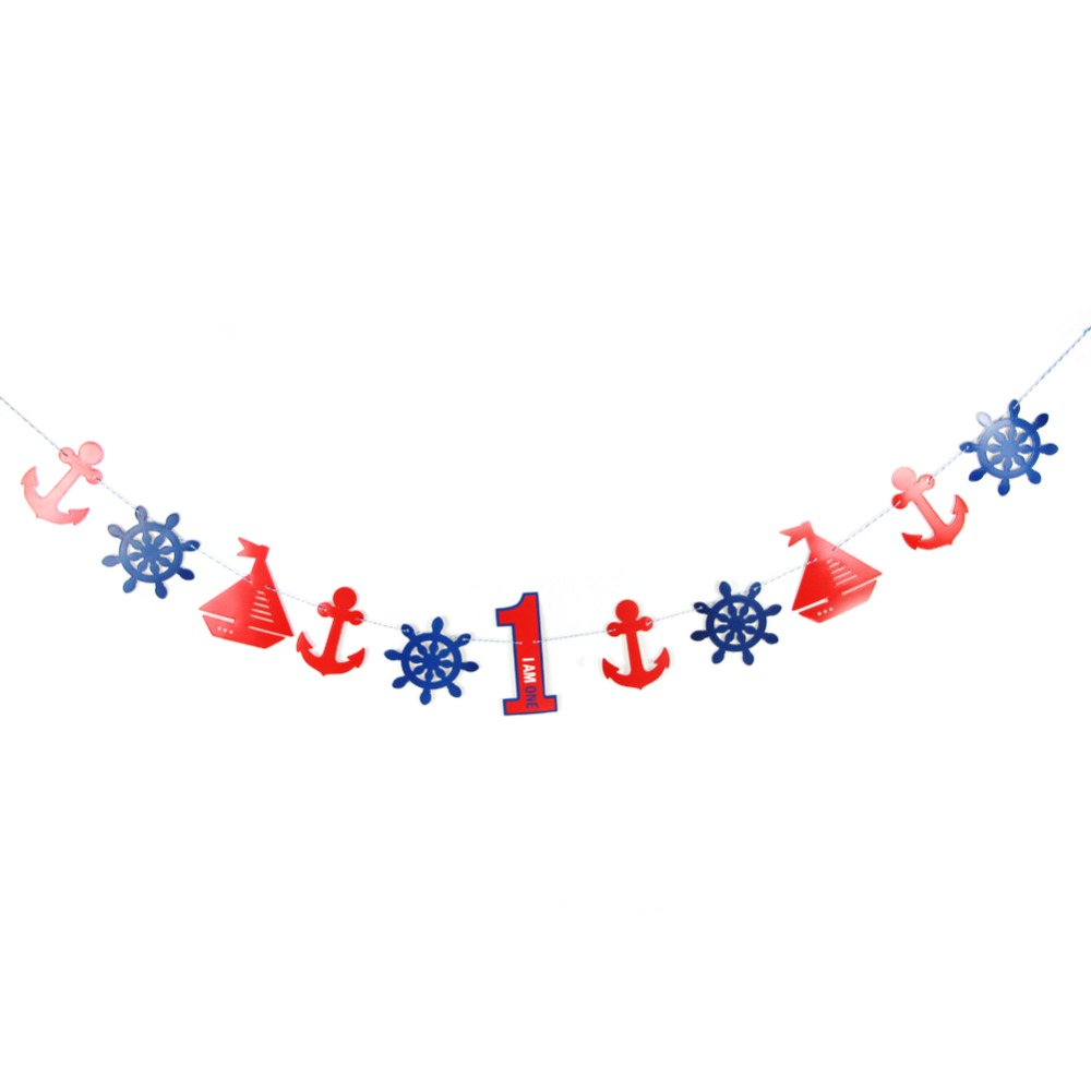 Set of 19 Nautical Theme Party Decorations 1 6 years old Birthday Marine Style Paper Banner Baby Shower Boys Birthday Party in Party DIY Decorations from Home Garden