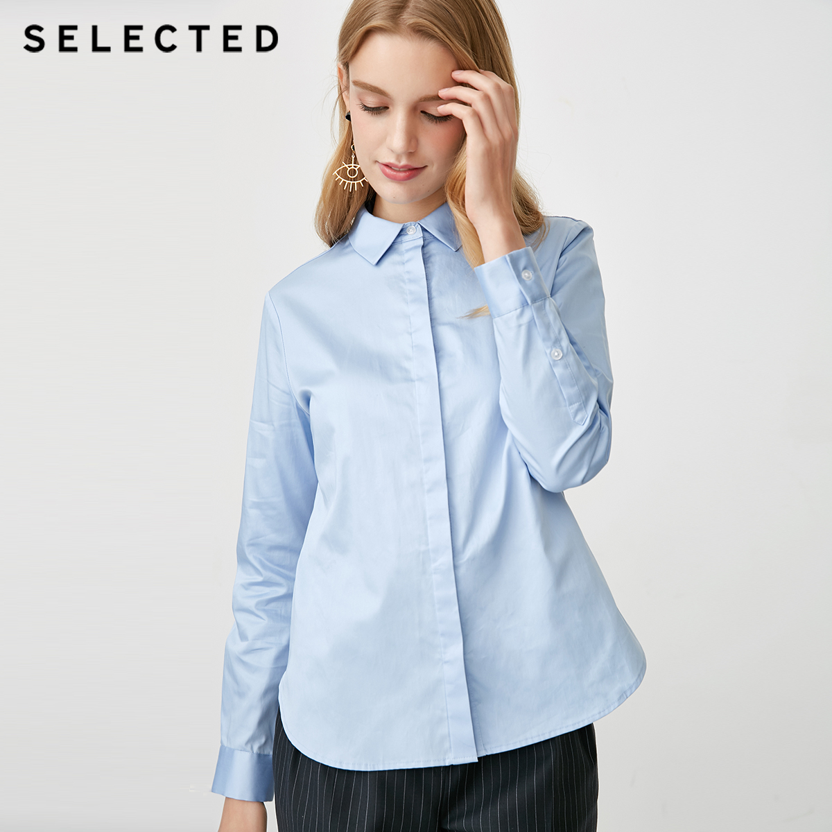 SELECTED Women s 100 Cotton Concealed Front Shirt S 418405516