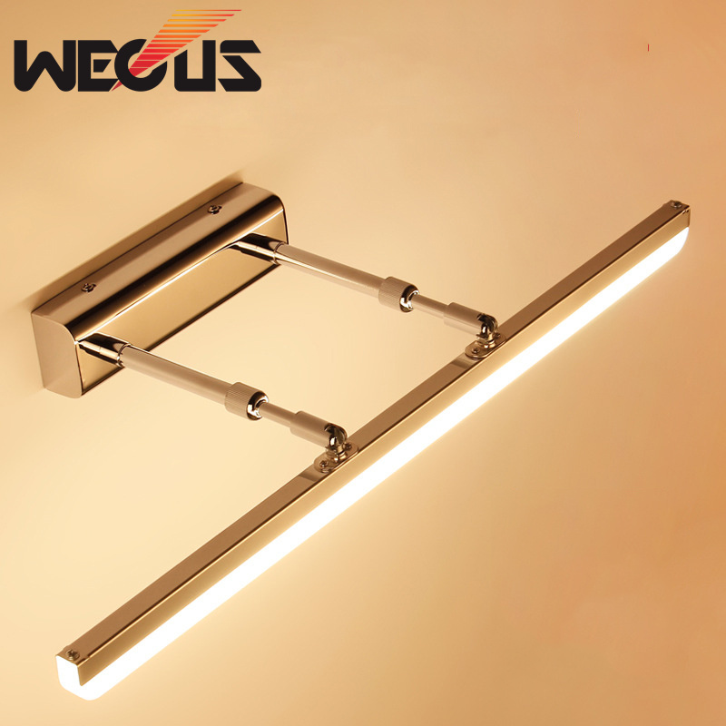 Wecus modern bathroom wall light staninless steel + acryl led mirror lamp study telescopic cabinet down sconce light 40cm 9W modern minimalist waterproof antifog aluminum acryl long led mirror light for bathroom cabinet aisle wall lamp 35 48 61cm 1134