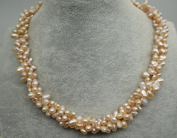Genuine Freshwater Pearl Necklace Champagne Color Three Rows Real Pearl Jewellery Wedding Necklace,Mothers Day,Brides Gift