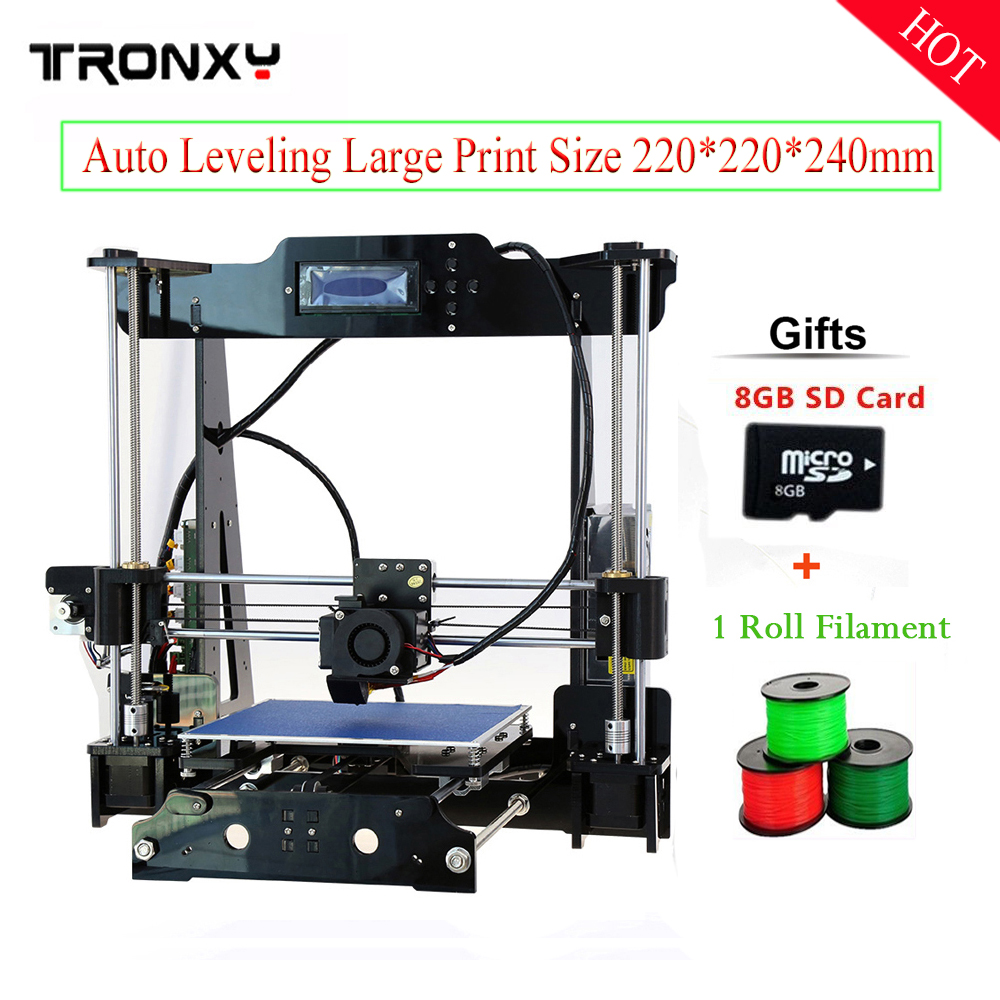 Tronxy 2017 Newest High Quality Auto Leveling Precision Reprap Prusa i3 3d Printer DIY kit with 1 Roll Filament 8GB SD card newest high quality precision reprap prusa i3 3d printer diy kit with 25m filament 8gb sd card and lcd free