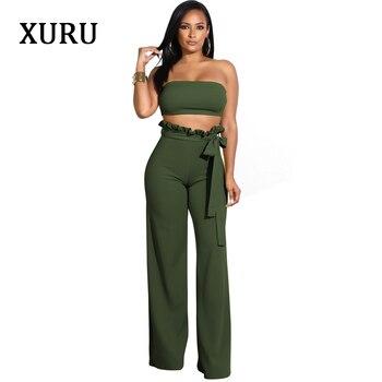 цена на XURU White Black Blue Women Off Shoulder Jumpsuits Strapless Short Top + Wide Leg Pants Two Piece Set Belted Jumpsuits