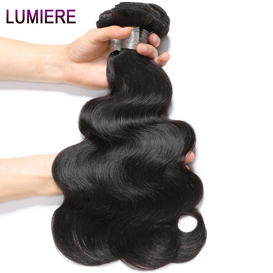 Lumiere Hair Brazilian Body Wave Hair 10-28 Inch Non-remy Hair 100% Human Hair Weave Bundles #1B
