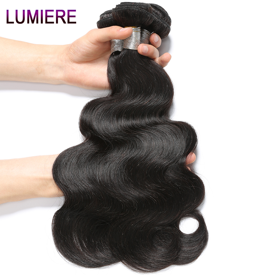 Lumiere Hair Brazilian Body Wave Hair 10-28 Inch Non-remy Hair 100% Human Hair Weave Bundles #1B