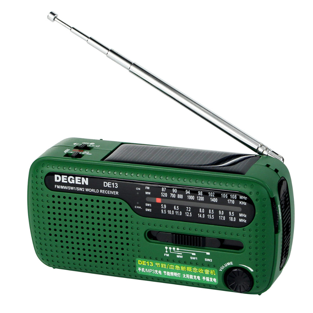 Degen DE13 Radio FM AM SW Crank Dynamo Solar Power Emergency Radio 320mAh World Receiver A0798A 5pcs pocket radio 9k portable dsp fm mw sw receiver emergency radio digital alarm clock automatic search radio station y4408