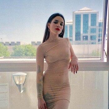 028d39c30ea8178 7 Манг Для женщин Сексуальная карандаш зеленый Bodycon платье Сетчатое  платье Модные Узкие с длинным рукавом