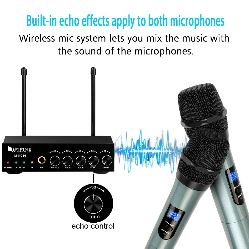 Image 3 - Fifine UHF Dual Channel Wireless Handheld Microphone, Easy to use Karaoke Wireless Microphone System K036-in Microphones from Consumer Electronics