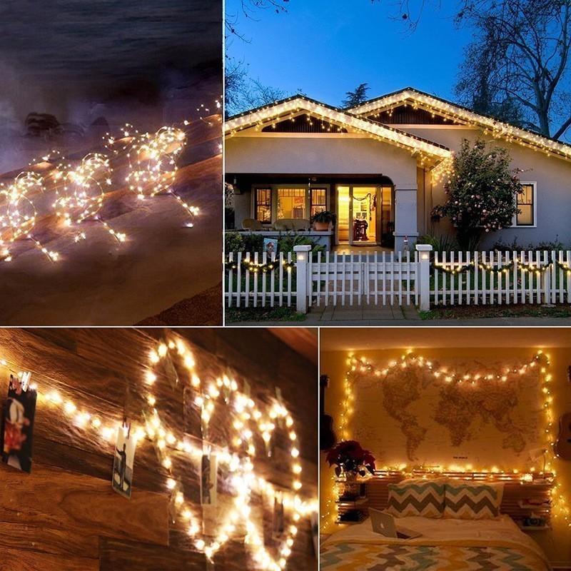 Solar Powered Garlands 5M 10M Copper Wire LED String Lights Fairy Light Christmas Garden LED Lamp Holiday Decoration Wedding