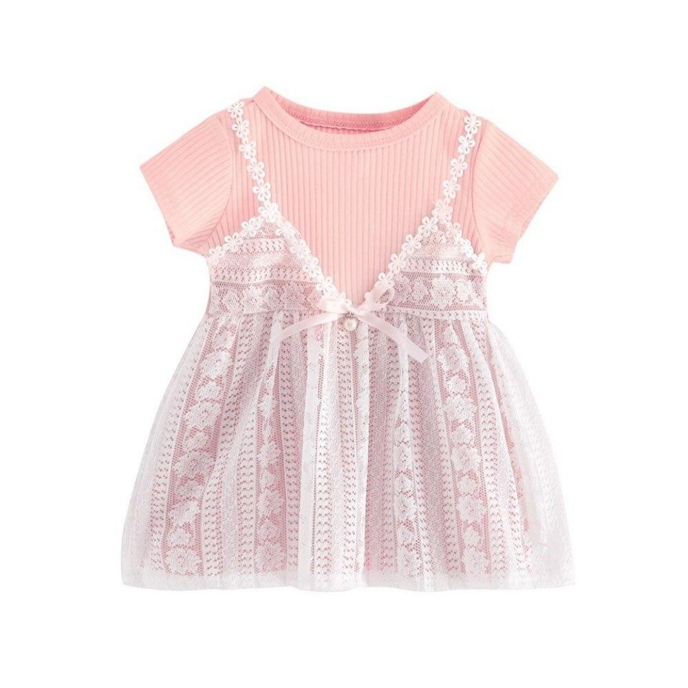 Милое Платье, летнее платье для девочек, платье принцессы для шоппинга, элегантное светло-голубое милое школьное платье на лямках - Цвет: pink