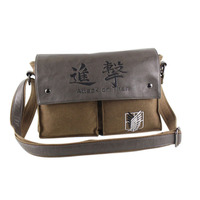 HOT Anime Attack On Titan Shingeki No Kyojin Canvas Shoulder Messenger Bag Cosplay Party Halloween Prop