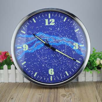 LED Display Clock Home Deco 14 Inches Galaxy Luminous Mute Fashion Shi Luminous Wall Clock Bracket Sitting Room Bedroom Control
