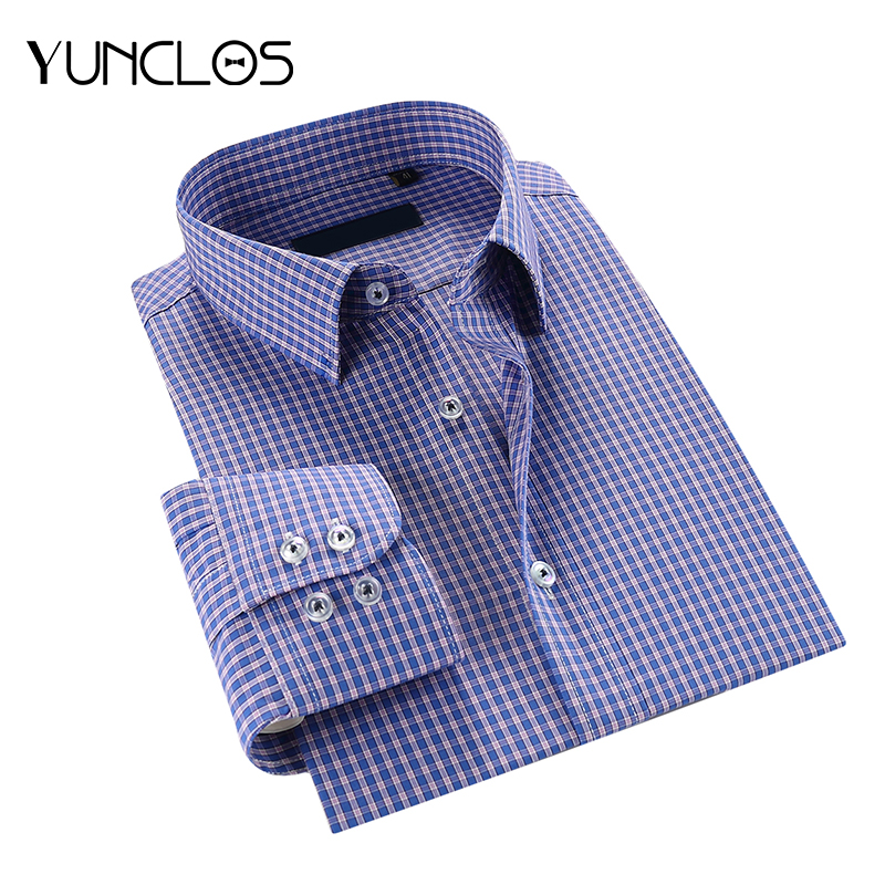 YUNCLOS Plaid Men Shirts Long Sleeve Turn-Down Collar Camisa Masculina Fashion Causal Pr ...