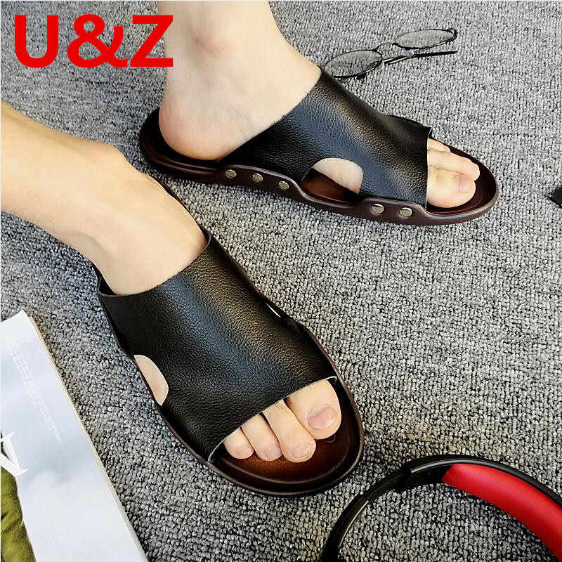 Zomer slippers mannen superieure Leer, wit/zwart/bruin Sport slippers mannen strand schoenen mannelijke casual schoenen Sandalen Maat 12