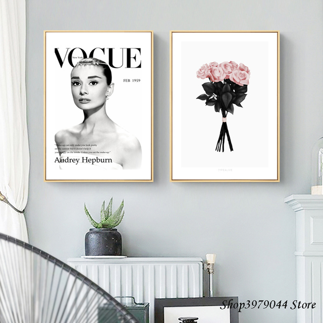 Aliexpress buy audrey hepburn canvas painting pink flower audrey hepburn canvas painting pink flower poster nordic style decoracao para casa quadro wall pictures for mightylinksfo