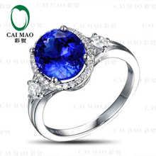 CaiMao 18KT/750 White Gold 3.34 ct Natural IF Blue Tanzanite AAA 0.34 ct Full Cut Diamond Engagement Gemstone Ring Jewelry
