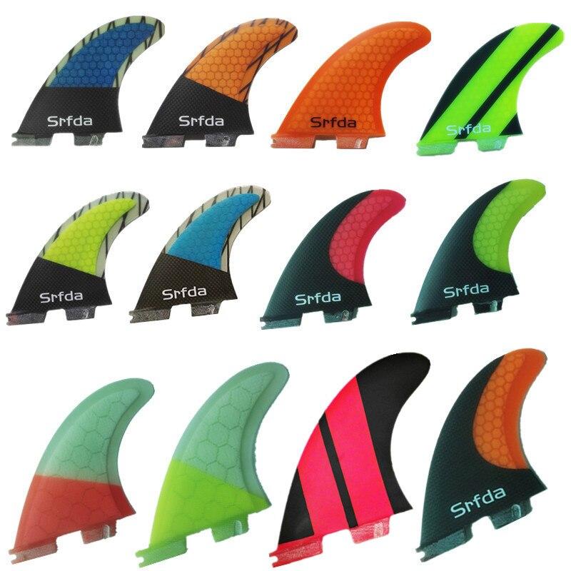 Srfda Free Shipping SURFBOARD FINS THRUSTER SET BLUE FCS II G5  NEW SURF FIN SKEG Fiberglass With Carbon Fins M Size
