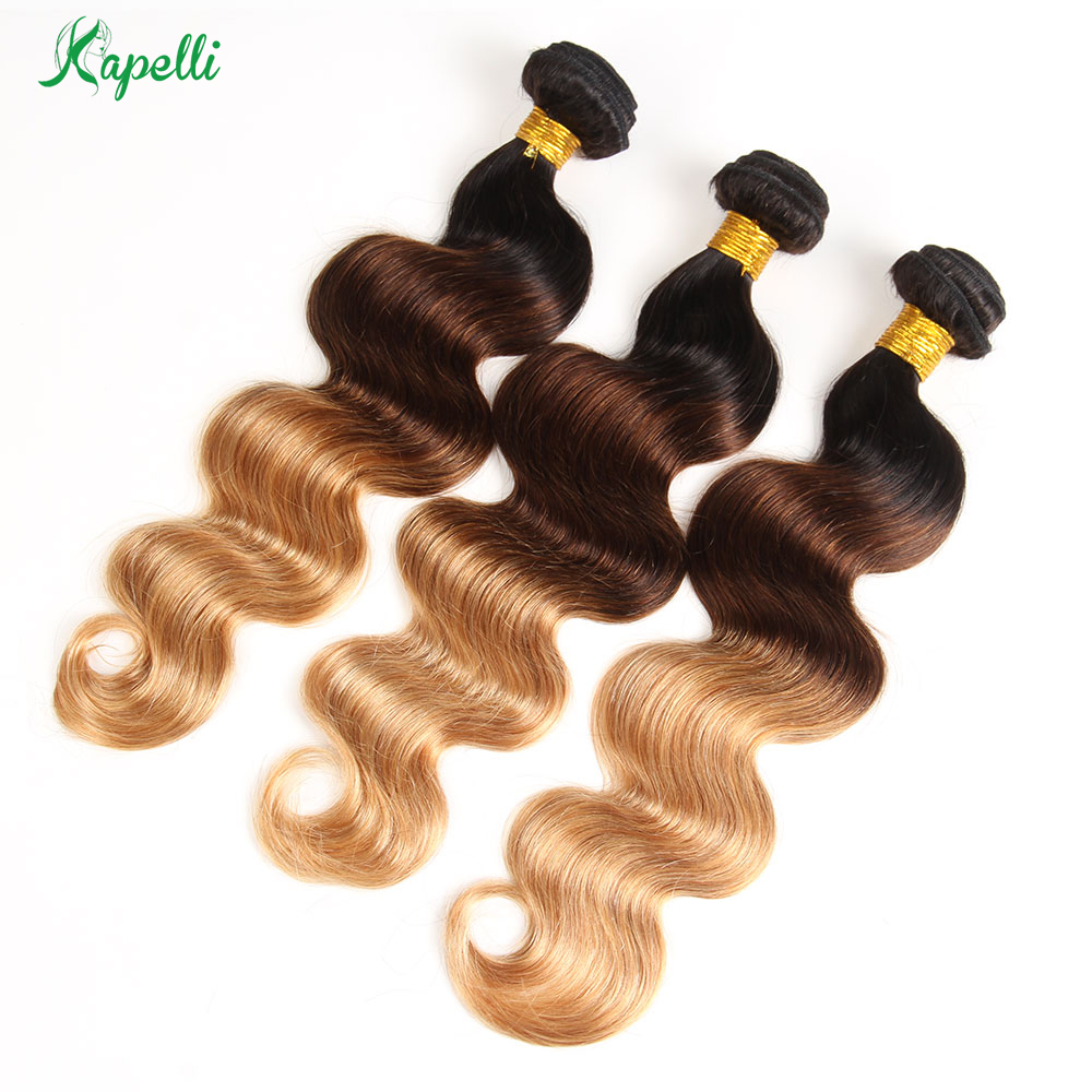 Ombre Brazilian Body Wave Hair Weave Bundles 1b 4 27 3 Tone Remy Human Hair 3