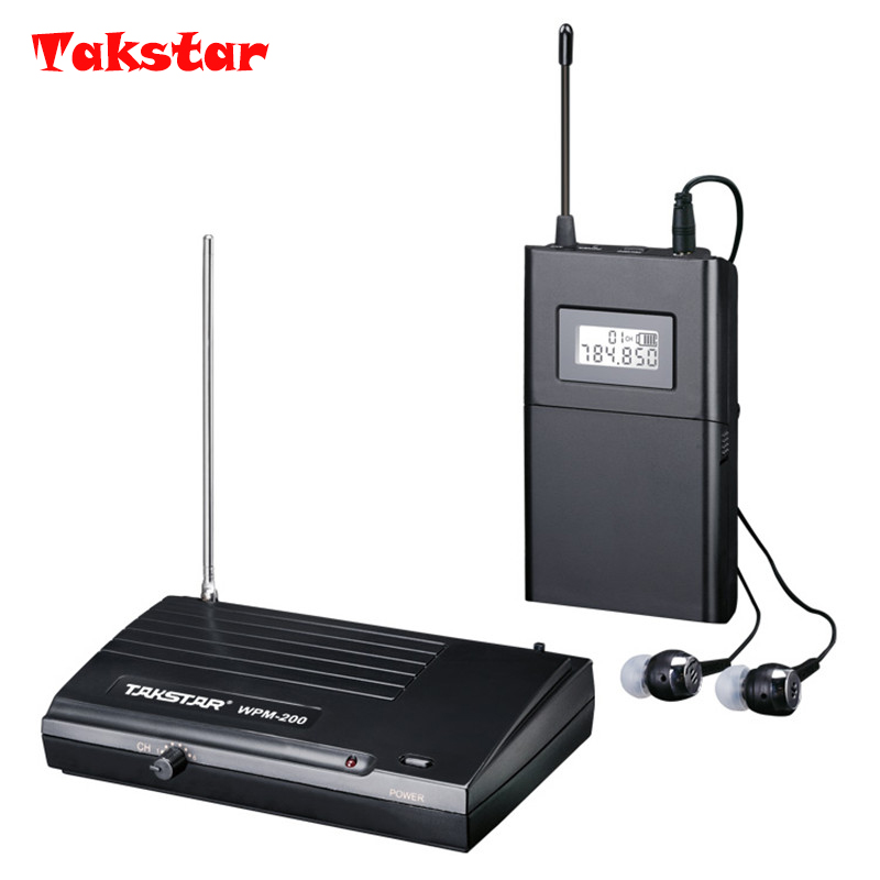 Hot Sale TAKSTAR wpm-200 UHF Wireless Professional Monitor System Stage In Ear Stereo Wireless Earphone Transmitter & Receiver ukingmei uk 2050 wireless in ear monitor system sr 2050 iem personal in ear stage monitoring 2 transmitter 2 receivers