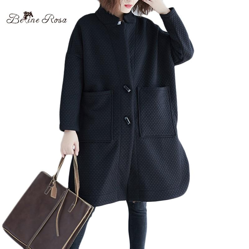 BelineRosa Oversized and Plus Size Winter Coats Casual Simple Argyle Women Coats Cotton 4xl 5xl Trench for Women XMR00092