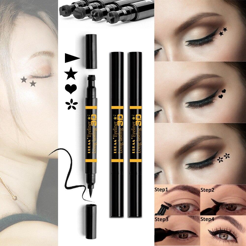 Lidstift FäHig 2 In1 Schwarz Flüssigen Eyeliner Bleistift Mit Eye Liner Stempel Doppel Kopf Wasserdichte Frauen Make-up Werkzeuge Maquiagem Tslm2