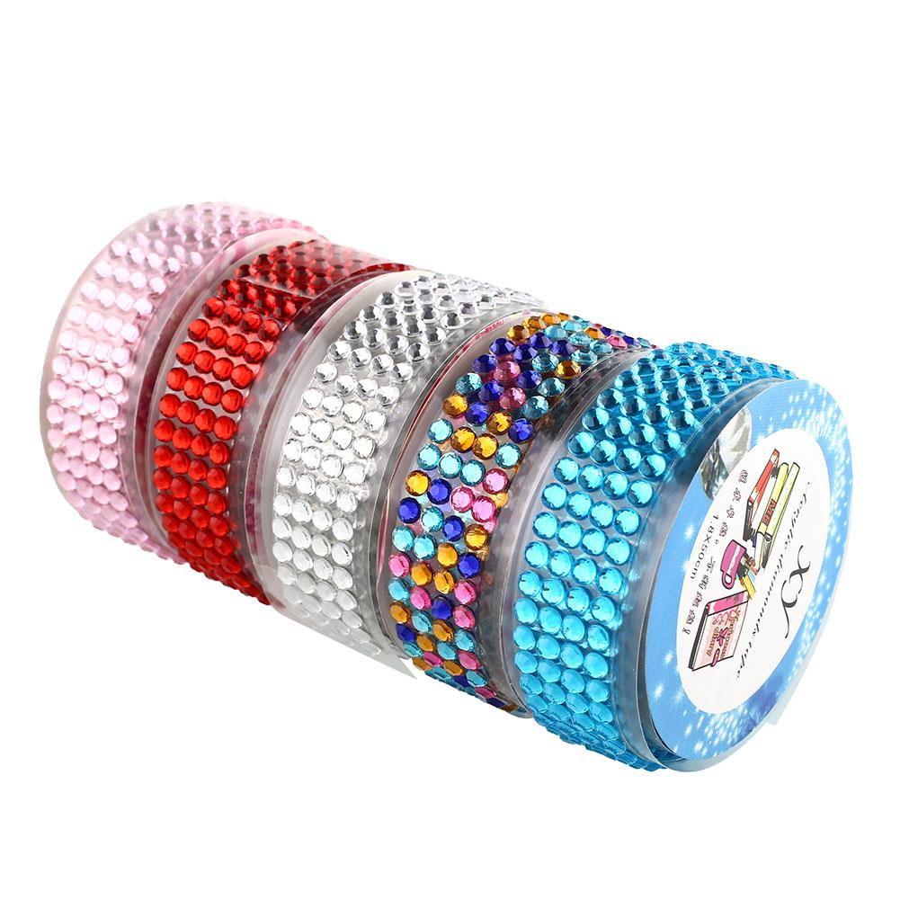 Crystal Colorful Roll Tape Self-Adhesive Rhinestones Sticker Tape Craft Glitter Gem DIY Stickers Scrapbooking Arts Decor