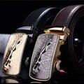 REGITWOW Leopard diseñador de lujo correa del zurriago hebilla Automática cinturones de cuero Genuino para los hombres de moda