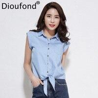 Dioufond Kadınlar Kısa Bluzlar Kısın Yaka Katı Üst Uzun Kollu Denim Kolsuz Gömlek Bahar 2018 Moda Bayanlar Bluzlar