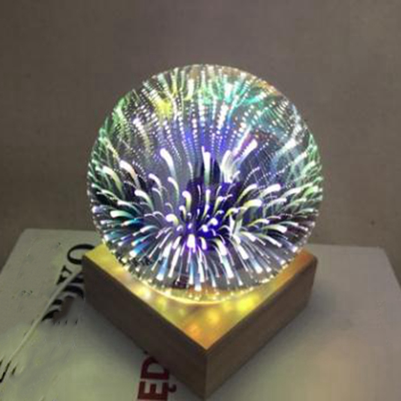 Wood Colorful 3D Light Magic Projector Ball 3D Lamp Usb Power Supply Bedroom Bedside Night Light Party Star Atmosphere Night L